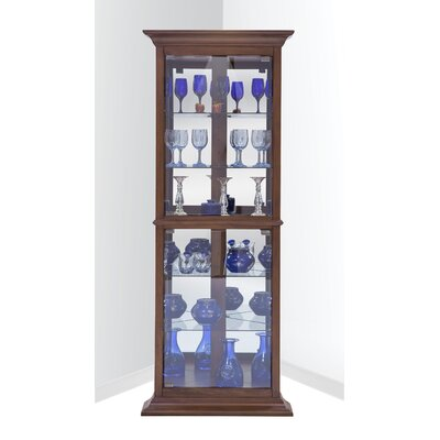 Gladstone Lighted Corner Curio Cabinet Color: Cherry