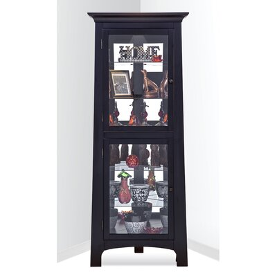 Westview Lighted Corner Curio Cabinet Color: Pirate Black