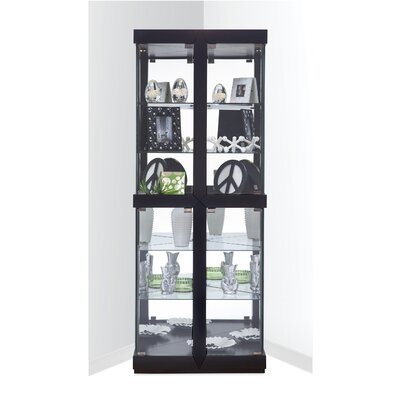 Catchings Lighted Corner Curio Cabinet Color: Galaxy Black