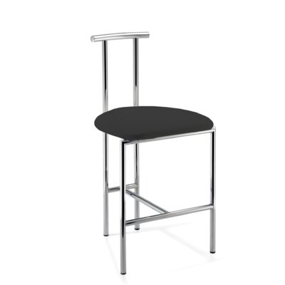 Lanclos 28.7 Bar Stool Frame Color: Polished Chrome, Seat Color: Black