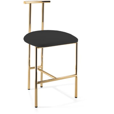 Lanclos 28.7 Bar Stool Frame Color: Polished Gold, Seat Color: Black