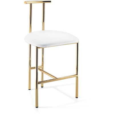 Lanclos 28.7 Bar Stool Frame Color: Polished Gold, Seat Color: White