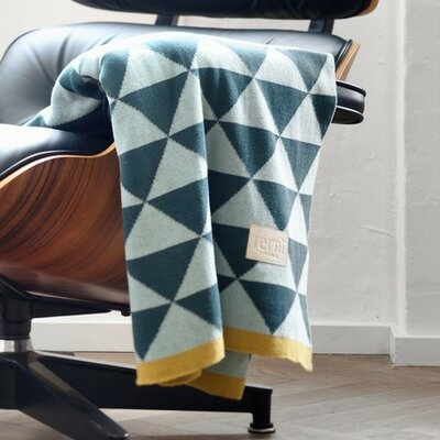 Modern Geometric Cotton Throw Blanket Color: Blue