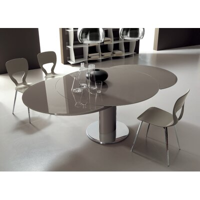Giro Extendable Dining Table Base Finish Sand Lacquered Top Finish Gloss Dove Grey Lacquered Glass