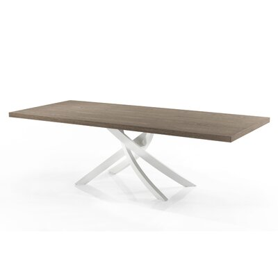 Artistico 79 inch Dining Table Base Finish: White Lacquered, Top Finish: Elm, Size: 29.5 inch H x 41.7 W x 78.7 inch H