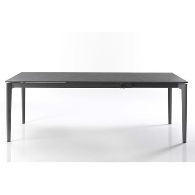 Doto Extendable Dining Table Base Finish Dark Brown Lacquered Top Finish Dove Grey Velvet Lacquered