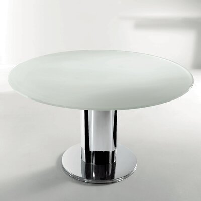 Giro Extendable Dining Table Base Finish: Stainless Steel, Top Finish: Gloss Extra White Glass