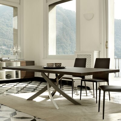 Artistico Dining Table Base Finish: White Lacquered, Top Finish: Spessart Oak, Size: 29.5 H x 41.7 W x 78.7 H