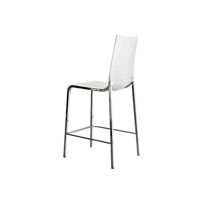 Eva 25.5 Bar Stool Frame Finish: Alu, Upholstery: White