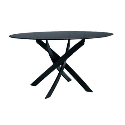 Barone Dining Table Table Shape: Round, Table Base Finish: Dark Brown Metal