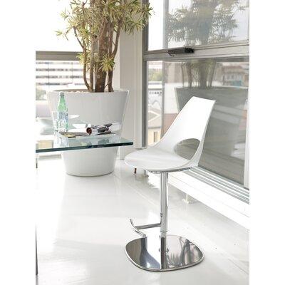 Shark Adjustable Height Swivel Bar Stool Upholstery: White