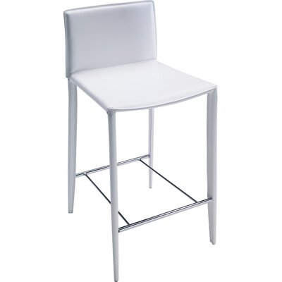 Linda 30 Bar Stool Finish: White / White Stitching