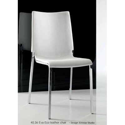 Eva  Genuine Leather Upholstered Dining Chair Upholstery: White