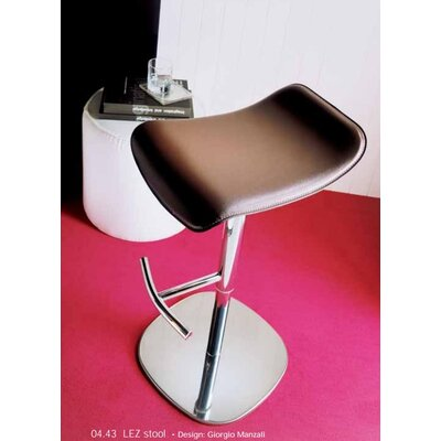 Lez Adjustable Height Swivel Bar Stool Upholstery: White Leather