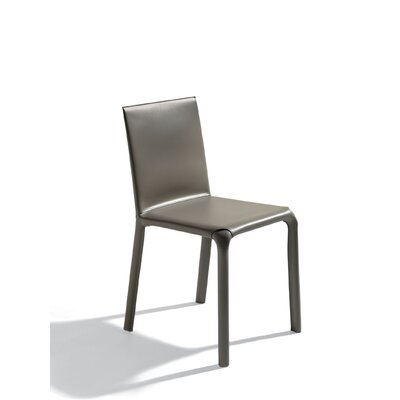 Alice Low Genuine Leather Upholstered Dining Chair Color: Mud / Mud Stitching