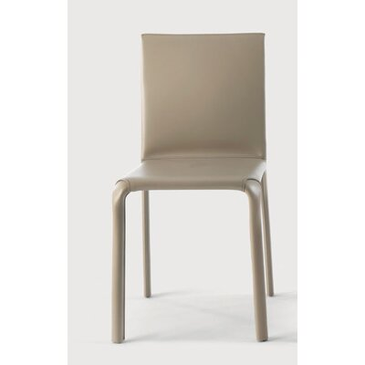 Alice Low Genuine Leather Upholstered Dining Chair Color: Sand / Sand Stitching