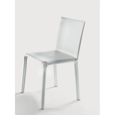 Alice Low Genuine Leather Upholstered Dining Chair Color: White / White Stitching