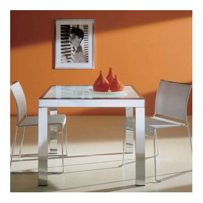 Sky Extendable Dining Table Shape: Square, Finish: Aluminum (Matte), Color: Sandblasted Glass