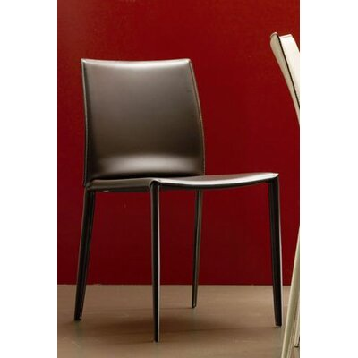 Linda Genuine Leather Upholstered Dining Chair (Set of 2) Color: Dark Brown / Off-White Stitching