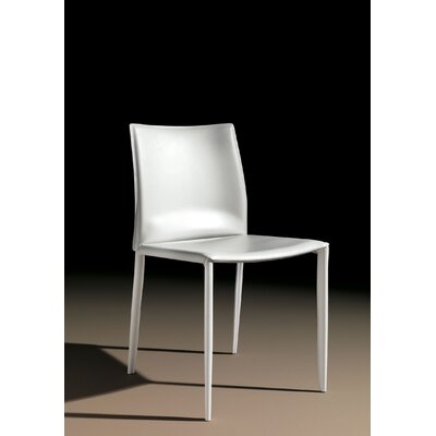 Linda Genuine Leather Upholstered Dining Chair (Set of 2) Color: White / White Stitching
