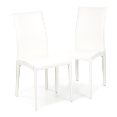 Kefir Genuine Leather Upholstered Dining Chair (Set of 2) Upholstery: White