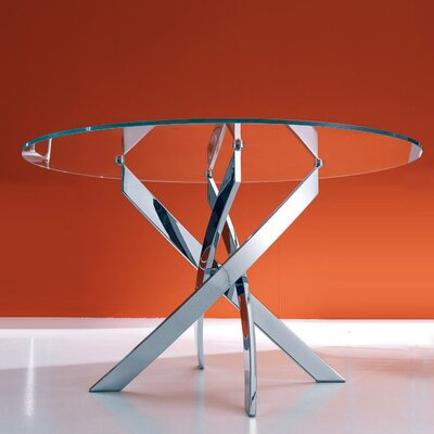 Barone Dining Table Table Shape: Elliptical, Table Base Finish: Chrome