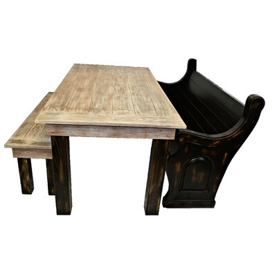 Zaragoza Solid Oak Farm Table Garden Bench Color: Black