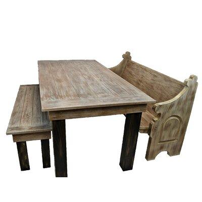 Zaragoza Solid Oak Farm Table Garden Bench Color: Antique Brown