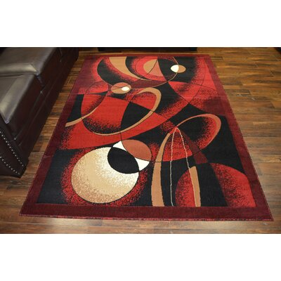 Coston Burgundy/Black Area Rug