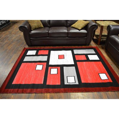 Coursey Red/Black Area Rug