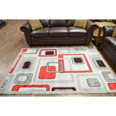 Cosper Gray/Red Area Rug