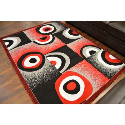 Courter Red/Black Area Rug