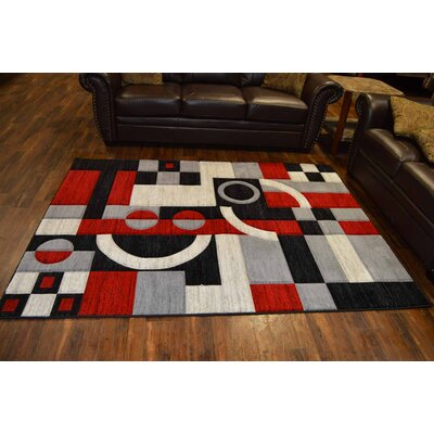 Cossey Red/Black Area Rug