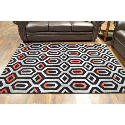 Hendershot Black/Red Area Rug