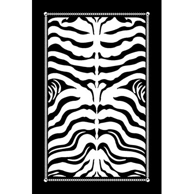 Premium 3D Black/White Area Rug Rug Size: Rectangle 5 x 7