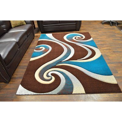 Mccampbell 3D Abstract Brown/Turquoise Area Rug Rug Size: Rectangle 8' x 11'