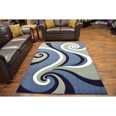 Mccampbell 3D Abstract Navy/Gray Area Rug Rug Size: Rectangle 8' x 11'