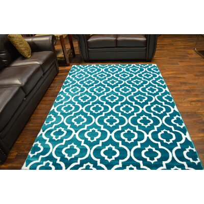 Bella Modern Contemporary Turquoise Area Rug