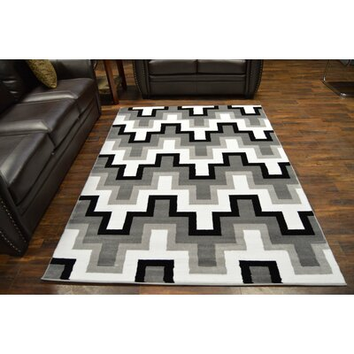 Bella Modern Contemporary Abstract Gray Area Rug