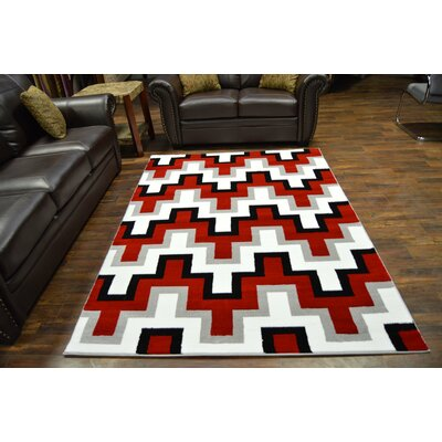 Bella Modern Contemporary Abstract Red/Gray Area Rug