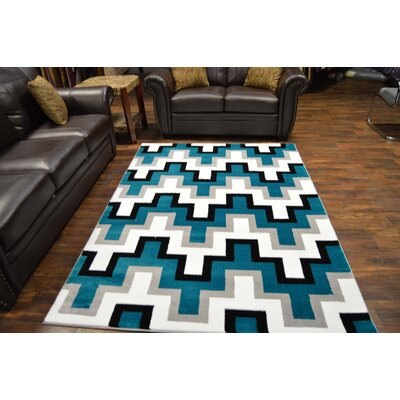 Bella Modern Contemporary Abstract Turquoise Area Rug
