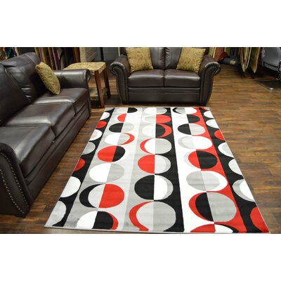 Bella Modern Contemporary Red/Gray Area Rug