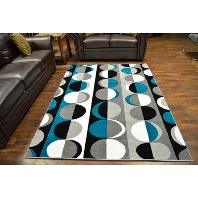 Bella Modern Contemporary Turquoise/Gray Area Rug