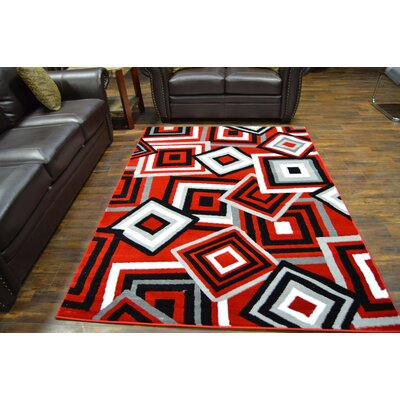 Bella Modern Contemporary Red Area Rug