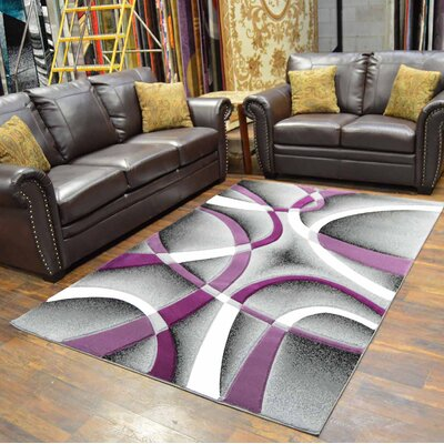 Mccampbell 3D Abstract Purple/Gray Area Rug Rug Size: Rectangle 8 x 11