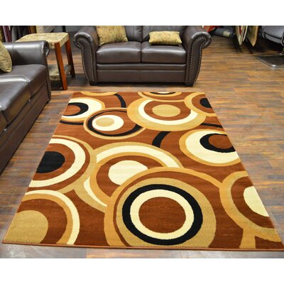 Bella Modern Contemporary Abstract Chocolate Area Rug
