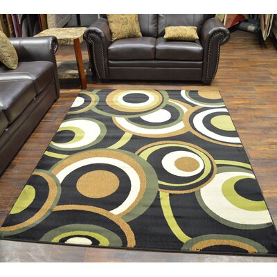 Bella Modern Contemporary Abstract Green Area Rug