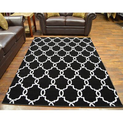 Bella Modern Contemporary Black/White Area Rug