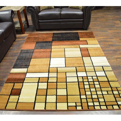Bella Modern Contemporary Chocolate/Beige Area Rug