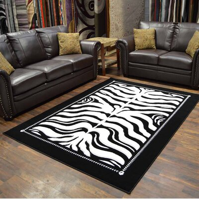 Premium 3D Black/White Area Rug Rug Size: Rectangle 2 x 4
